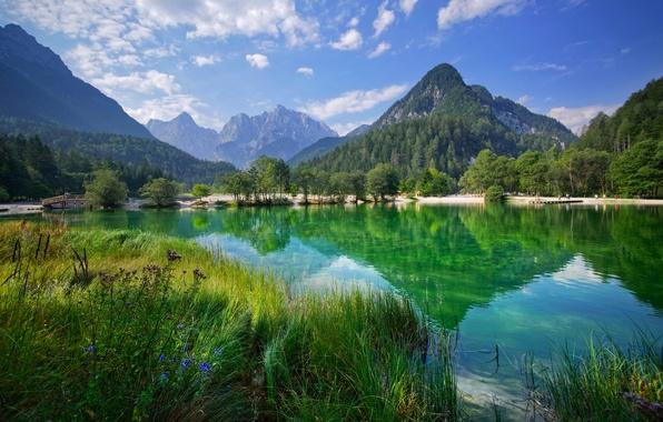Картинка деревья, горы, озеро, отражение, Словения, Slovenia, Kranjska Gora, Lake Jasna, Краньска-Гора, Юлийские Альпы, Julian Alps, …
