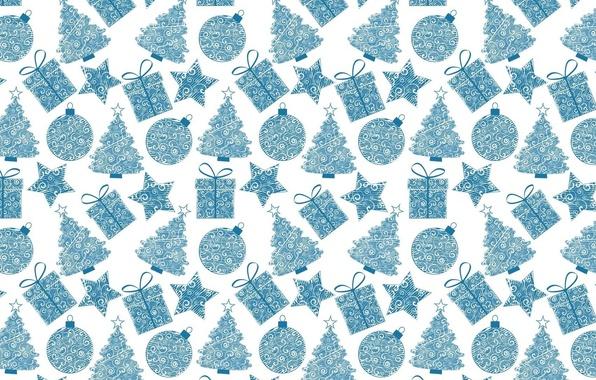 Картинка праздник, подарок, звезда, шар, текстура, Новый год, ёлочка