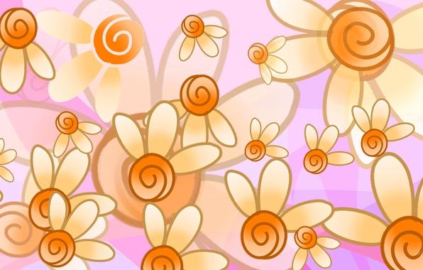 Картинка цветы, абстракция, краски, вектор, лепестки