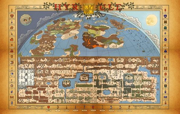 Картинка Nintendo, map, Retro, Zelda, itemps, Nes