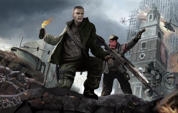 Картинка свобода, оружие, воин, солдат, руины, революция, коктейль молотова, Homefront: The Revolution