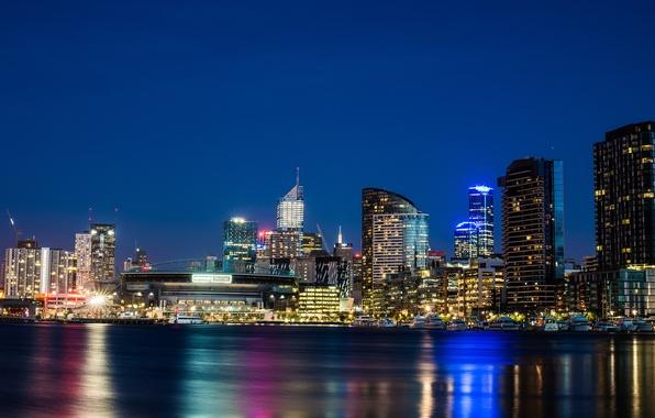 Картинка ночь, город, река, здания, дома, небоскребы, Виктория, Австралия, Melbourne, Yarra River, стадион, Australia, Мельбурн, штат, …
