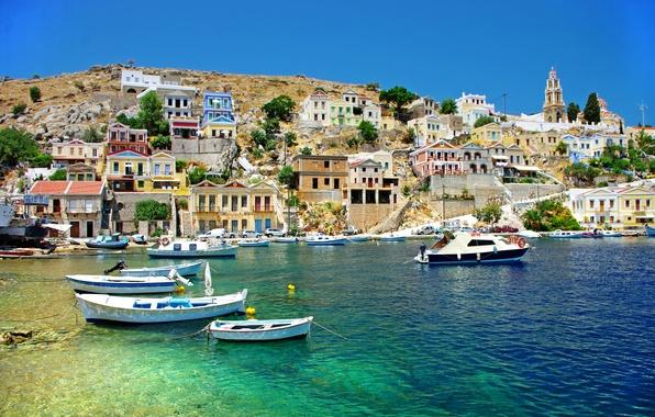 Картинка море, побережье, дома, лодки, Греция, Greece