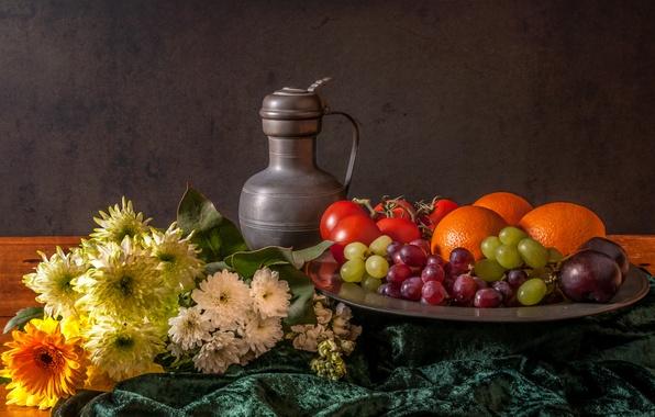 Картинка цветы, ягоды, кувшин, фрукты, натюрморт