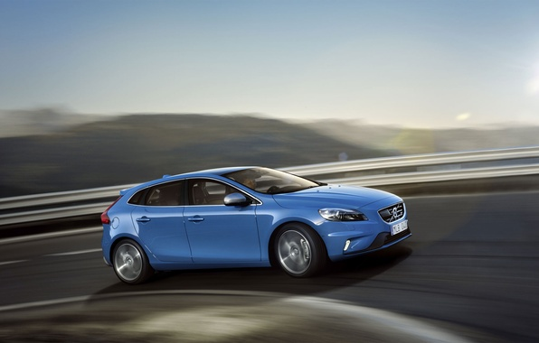 Картинка дорога, движение, Volvo, вольво, V40, в40, R-Design