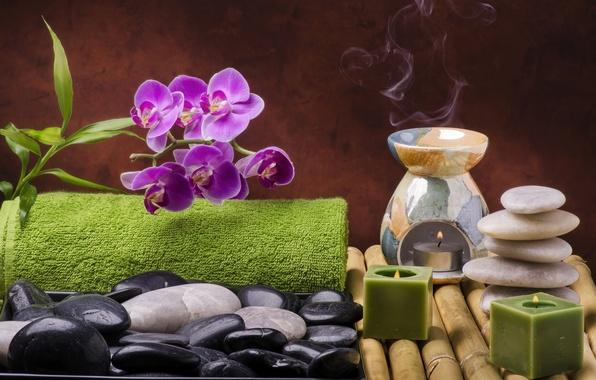 Картинка цветы, камни, свечи, бамбук, relax, орхидея, flowers, спа, still life, candles, spa, salt, wellness