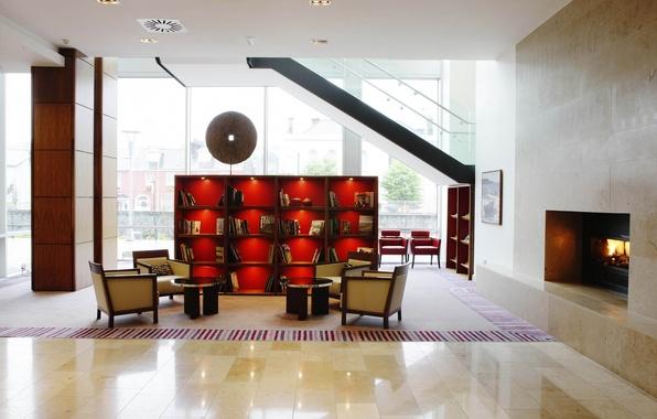 Картинка красный, дизайн, стиль, комната, интерьер, окно, кресла, лестница, шкаф, камин, светло