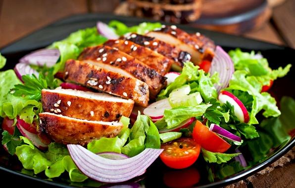 Картинка мясо, помидоры, салат, tomatoes, meat