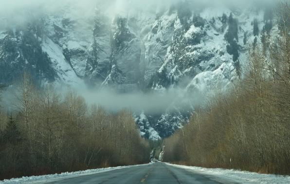 Картинка дорога, лес, снег, горы, туман, Зима, дымка