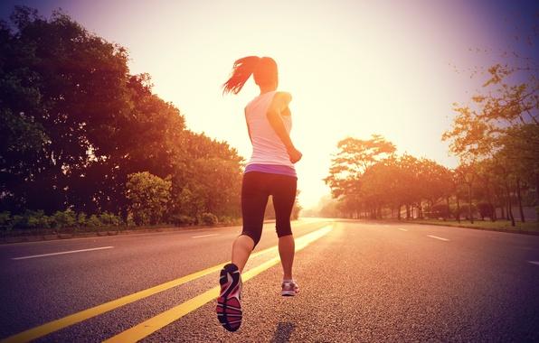 Картинка дорога, девушка, природа, спорт, бег