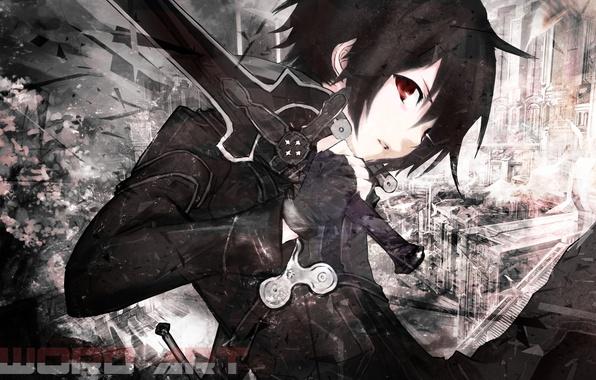 Картинка взгляд, меч, черные волосы, Sword Art Online, Kirito, черный плащ