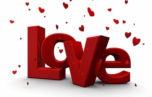 Картинка Love, Любовь, Сердечки, Надпись, День святого Валентина, 14 февраля, Слово, Valentine's Day