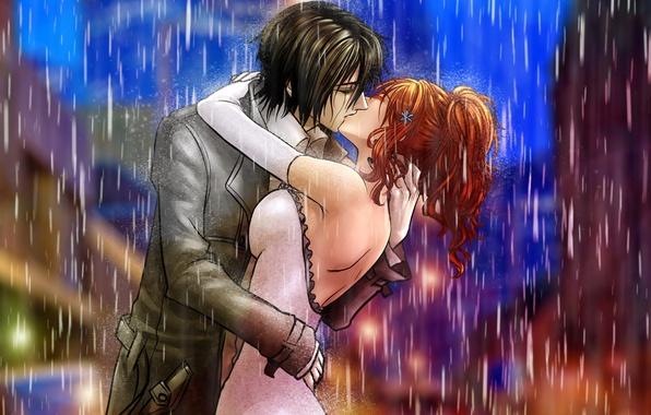 Картинка девушка, дождь, поцелуй, арт, пара, парень, bleach, ulquiorra schiffe, inoue orihime, billiefeng