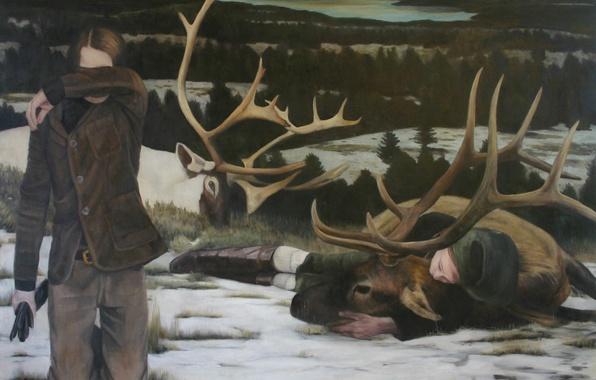 Картинка картина, норвежский художник, Christer Karlstad, Hunters and Collectors