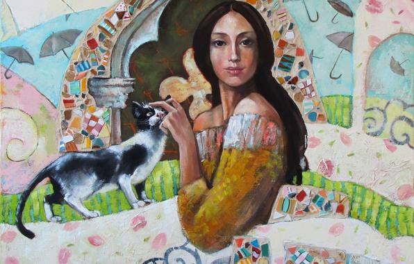 Картинка кошка, девушка, мозаика, узоры, краски, завитки, картина, арт, зонтики, арка, Марианна Калачева