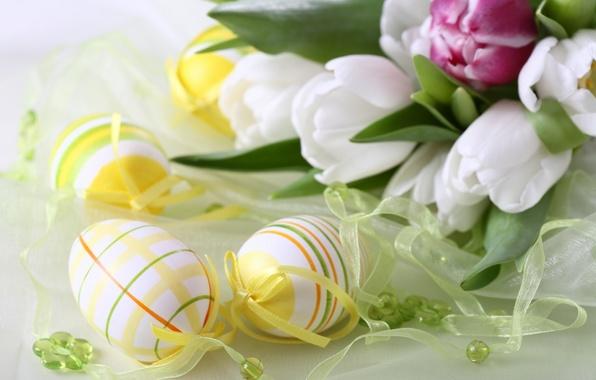Картинка цветы, праздник, яйца, тюльпаны, пасхальный