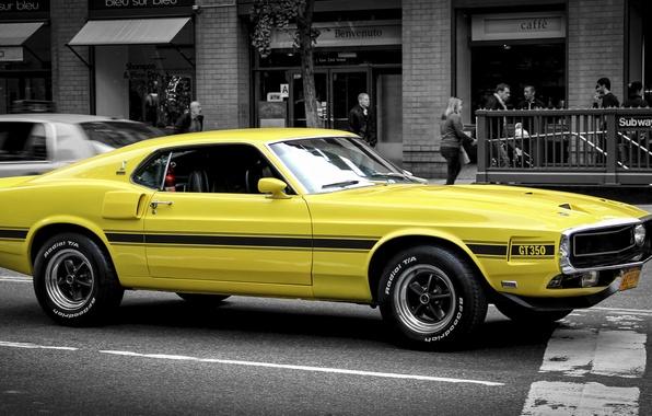 Картинка желтый, Mustang, Ford, Форд, Мустанг, классика, Muscle car, Мускул кар