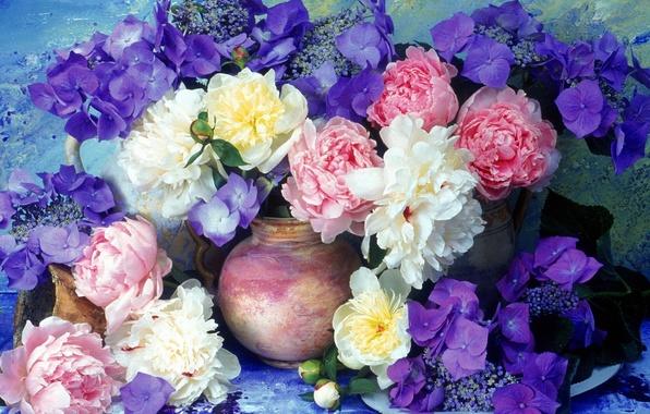Картинка цветы, стена, букет, ваза, сиреневые, пионы, гортензия