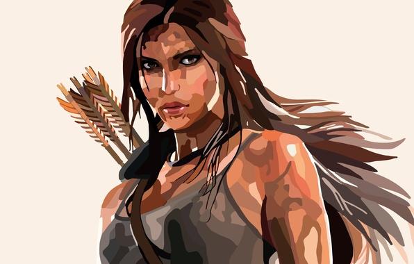 Картинка лицо, Лара Крофт, стрелы, Lara Croft, Rise of the: Tomb Raider