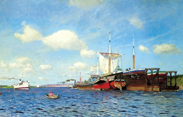 Картинка небо, вода, облака, река, лодка, чайки, корабли, картина, парус, живопись, Левитан Исаак, свежий ветер