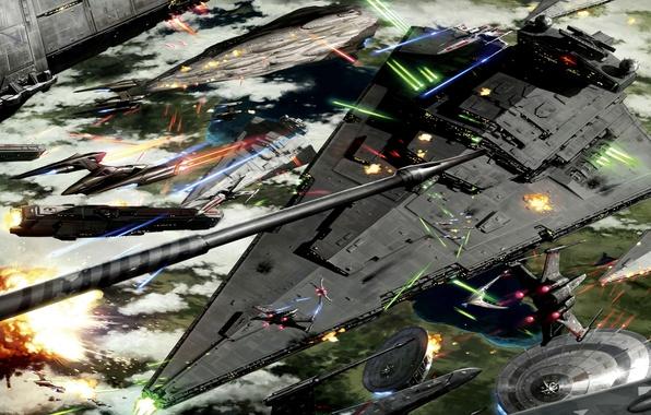 Картинка Star Wars, Art, Space Battle, Battle of Kashyyyk