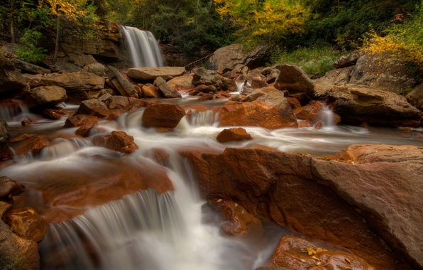 Картинка осень, река, камни, водопад, West Virginia, Западная Виргиния, Blackwater River, Douglas Falls, водопад Дуглас, река …