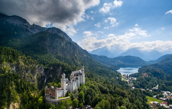 Картинка горы, замок, Германия, долина, Бавария, панорама, Germany, Bavaria, Neuschwanstein Castle, Замок Нойшванштайн