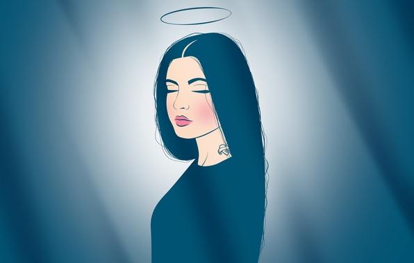 Картинка мечта, спокойствие, ангел, губы, татуировка, нимб