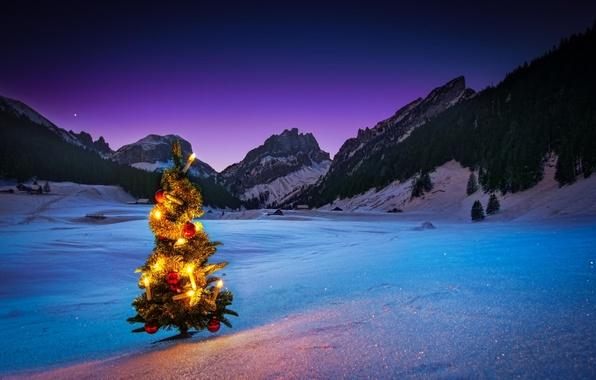 Картинка зима, снег, горы, ночь, елка, новый год, герлянда