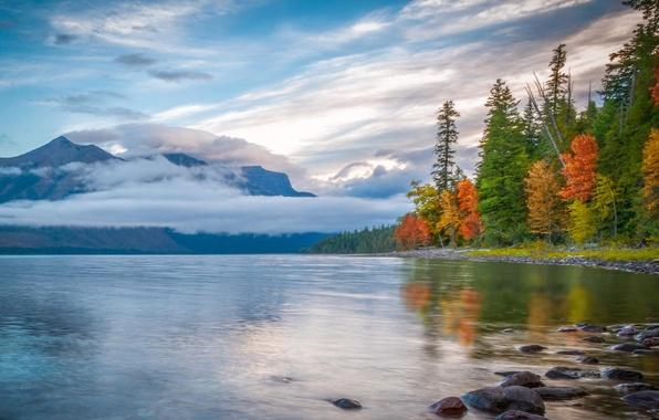 Картинка осень, лес, облака, горы, природа, озеро, отражение