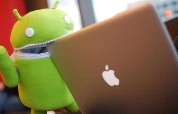 Картинка green, apple, robot, notebook, air, ANDROID, ios, os android