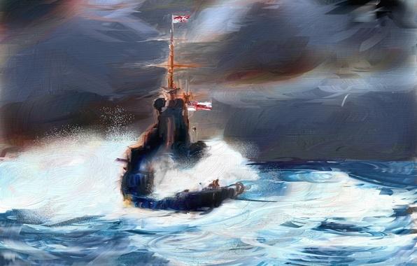 Картинка море, стиль, корабль, картина