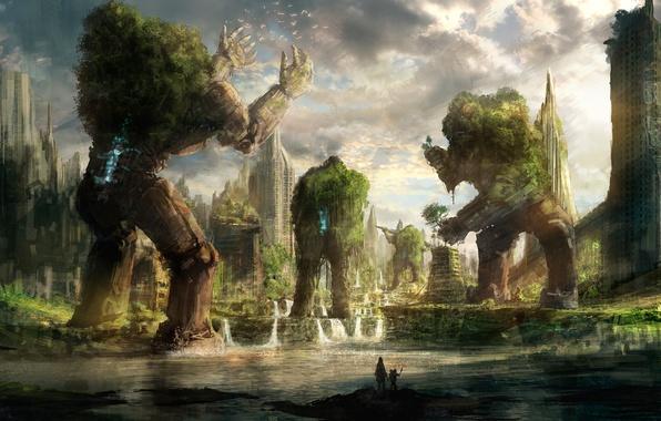 Картинка небо, вода, птицы, люди, дома, растения, арт, постапокалипсис, you, shimizu