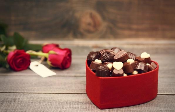 Картинка любовь, цветы, праздник, сердце, шоколад, розы, букет, конфеты, red, love, rose, photography, heart, photo, flowers, ...