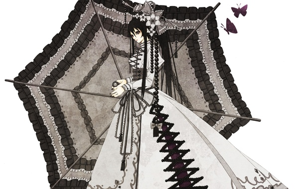 Картинка бабочки, Девушка, зонт, бусы, пышное платье, заколки