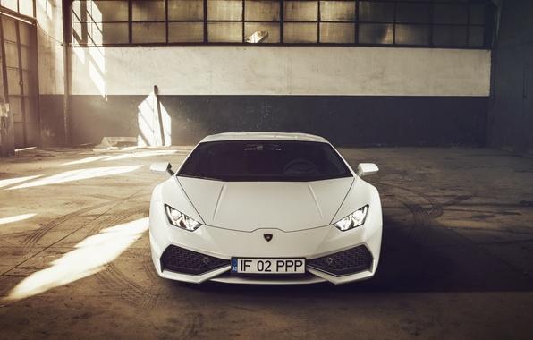Картинка Lamborghini, Front, White, Supercar, 2014, Huracan, LP610-4
