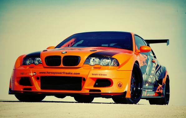 Картинка car, машина, авто, bmw, бмв, оранжевая, e46