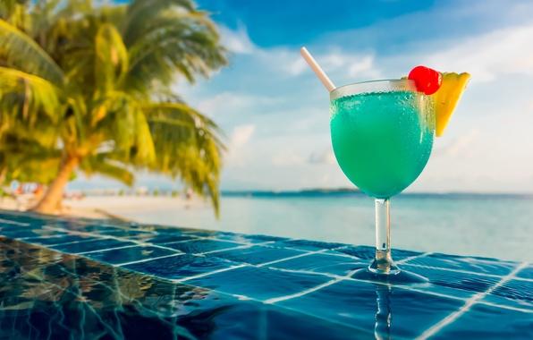 Картинка вода, радость, бодрость, тропики, ягоды, еда, позитив, бассейн, размытость, коктейль, Мальдивы, ананас, nature, черешня, ням-ням, …