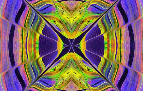 Картинка стекло, лучи, свет, линии, узор, цвет, витраж, симметрия