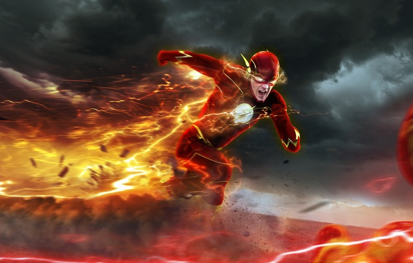 Картинка погоня, art, flash, The Flash, Barry Allen, Reverse-Flash, Professor Zoom, Eobard Thawne