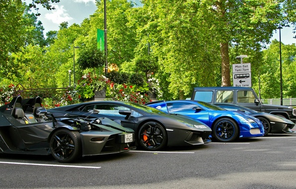 Картинка суперкар, спорткар, гелик, Lamborghini Aventador, Lamborghini Aventador LP700-4, Bugatti Veyron Centenaire, Mercedes-Benz G55 AMG, KTM …