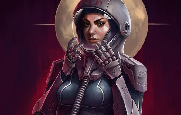 Картинка взгляд, девушка, луна, космонавт, арт, СССР