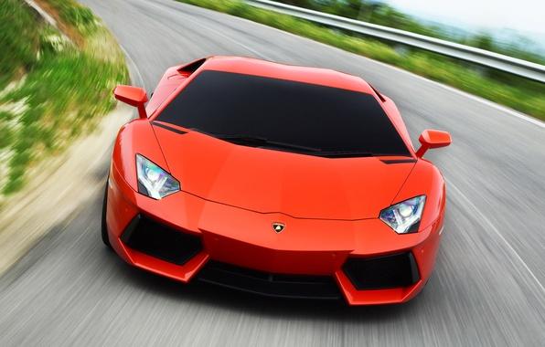 Картинка дорога, фон, фары, Lamborghini, красотка, Aventador LP700-4