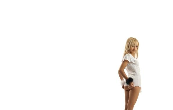 Картинка попа, взгляд, Девушка, блондинка, белый фон