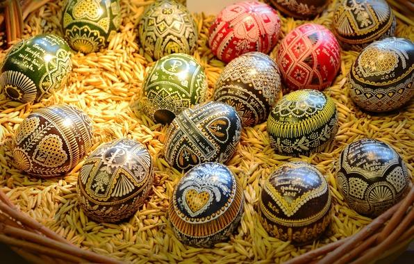 Картинка праздник, яйца, Пасха, корзинка, зёрна, Easter, писанки