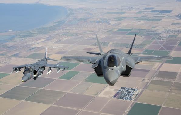 Картинка полет, земля, Harrier, Lightning II, F-35B, AV-8B