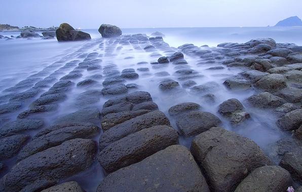 Картинка море, туман, камни