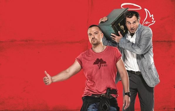 Фото обои красный, Ч/Б, сейф, фон, ангел, комедия, Merab Ninidze, Алексей Чадов, Мераб Нинидзе