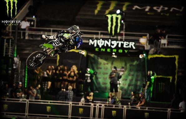 Картинка мотоцикл, гонщик, Monster energi, Motocross, Monster Motocross, прыжок., Моткросс