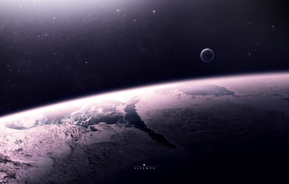 Картинка звезды, поверхность, пространство, планета, спутник, атмосфера